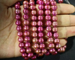 609.70 cts Three Pink Hot Semi Round Pearl strands  GOGO1038