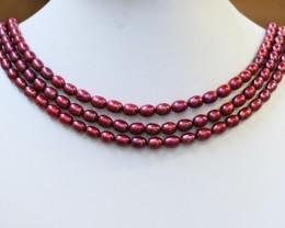 291.65 cts Three Pink Magenta Semi Round Pearl strands  GOGO1051