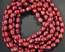 285.50 cts Three Pink Magenta Semi Round Pearl strands  GOGO1052