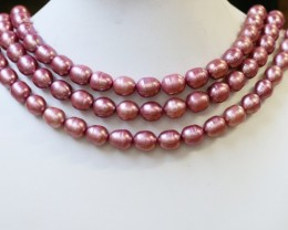 743.75 cts Three Pink Oval Side Drill Pearl strands  GOGO1057