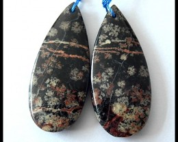 32Ct Natural Snow Obsidian Earring Beads