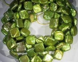 582.95 cts Green Pistachio Coin Square Pearl strands  GOGO1061