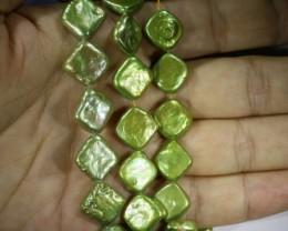 412.90 cts Green Pistachio Coin Square Pearl strands  GOGO1062