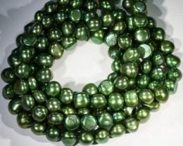 539.40 cts Three Dark Green Baroque Pearl strands  GOGO1064