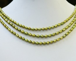 171.55 cts Three Pistachio Green Oval Pearl strands  GOGO1065