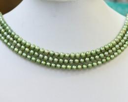 261.70 cts Three Pistachio Green Semi Round Pearl strands  GOGO1073