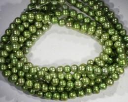 264.65 cts Three Pistachio Green Semi Round Pearl strands  GOGO1074