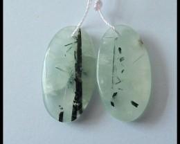 27Ct Natural Prehnite Gemstone Earring Beads