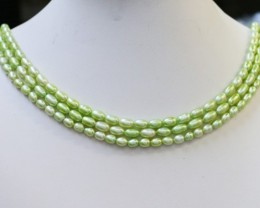 212.35 cts Three Pistachio Green Oval Pearl strands  GOGO1081