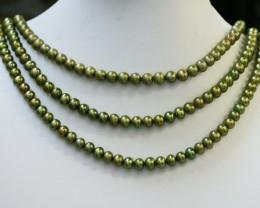 402.05 cts Three Pistachio Green Semi Round Pearl strands  GOGO1088