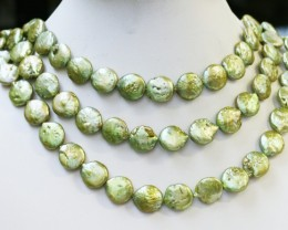 561.65 cts Three Pistachio Green Coin Round Pearl strands  GOGO1070