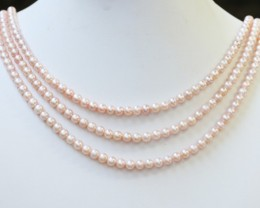 230.15 cts Three Aim cot Pink Round Pearl strands  GOGO1090