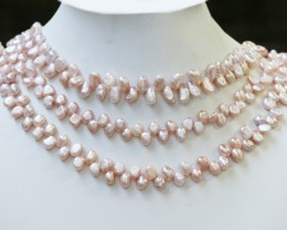 382.65 cts Three Pink Baroque Tip drill Pearl strands  GOGO1100