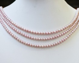 218.50 cts Three Pink Semi Round Pearl strands  GOGO1103