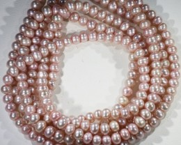 221.05 cts Three Pink Semi Round Pearl strands  GOGO1107