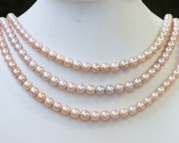 442.20 cts Three Pink Round Pearl strands  GOGO1108