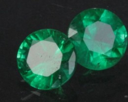 1.11 ct MATCHING EMERALD PAIR - 5.5MM - ROUND BRILLIANT!