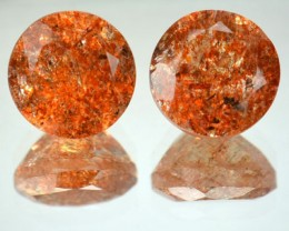 5.90 Cts Natural Brick Red Dot Sunstone 9 mm Round 2 Pcs Congo Gem