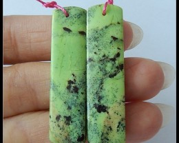 37Ct Natural Serpentine Gemstone Earring Beads
