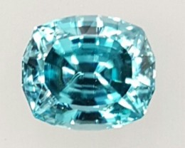 7.0 ct BLUE ZIRCON - MASTER CUT!  FLAWLESS!  BEST COLOR!