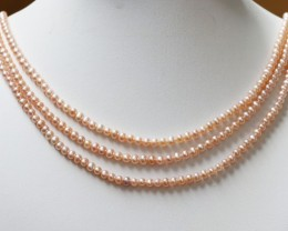 151.80 cts Three  Pink  Semi Round Pearl strands  GOGO 1121