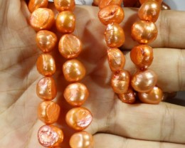 522.90 cts Two Orange Baroque Pearl strands  GOGO 1159