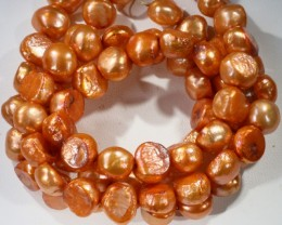 587.15 cts Two Orange Baroque Pearl strands  GOGO 1155