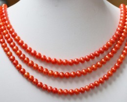422.90 cts Three Orange Semi Round Pearl strands  GOGO 1134