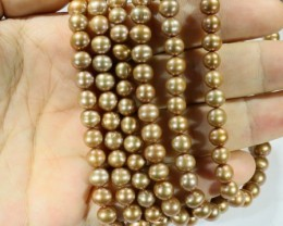 360.55 cts Three Golden Semi Round Pearl strands  GOGO 1141
