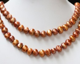 537.05 cts Two Bronze Baroque Pearl strands  GOGO 1154