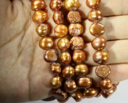624.90 cts Two Bronze Baroque Pearl strands  GOGO 1144