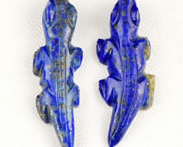 Genuine 47.50 Cts Blue Lapis Lazuli Carved Alligeter Pair