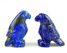 Genuine 51.00 Cts Blue Lapis Lazuli Carved Bird Pair