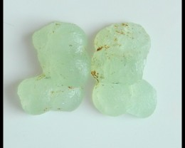 24.5Ct Natural Prehnite Gemstone Cabochon Pair