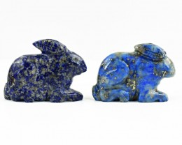Genuine 89.50 Cts Blue Lapis Lazuli Carved Rabbit Pair