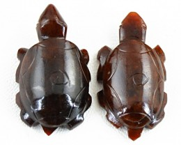 Genuine 91.00 Cts Carved Brown Jasper Carved Tortoise Pair