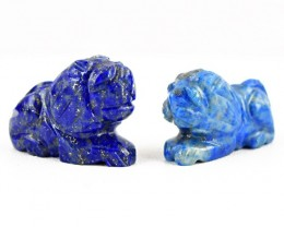 Genuine 74.50 Cts Blue Lapis Lazuli Carved Lion Pair
