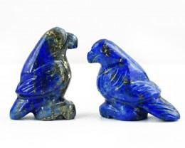 Genuine 58.00 Cts Blue Lapis Lazuli Carved Bird Pair