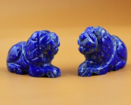 Genuine 83.00 Cts Blue Lapis Lazuli Carved Lion Pair