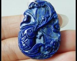 36Ct Carved Lapis Lazuli Pendant Bead