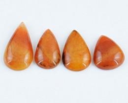 Genuine 123.00 Cts Pear Shaped Orange Aventurine Cab Lot