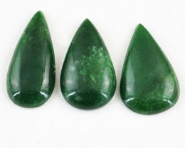 Genuine 102.50 Cts Pear Shaped Green Jade Cab Lot