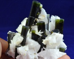 1506 CT NATURAL CLUSTERED OF TOURMALINE CRYSTALS WITH MICA