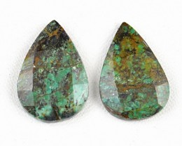 Genuine 32.00 Cts Pear Shaped Checkered Cut Turquoise Cab