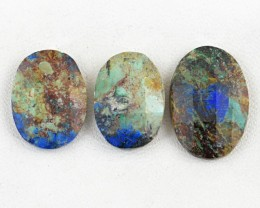 Genuine 43.00 Cts Checkered Cut Oval Shaped Azurite Cab Lot