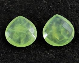 Genuine 36.50 Cts Checkered Cut Pear Shaped Phrenite Cab Pair