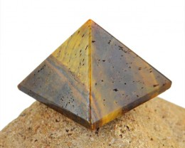 Genuine 86.00 Cts Golden Tiger Eye Healing Pyramid