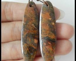 45.5Ct Natural Gemstone Green Opal Earring Beads Pair(18091190)