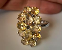 Huge Citrine Cocktail Ring Size 8 - Gorgeous Sparkling gems Sterling Silver