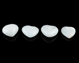 Genuine 112.00 Cts White Agate Heart Shaped Cab Lot